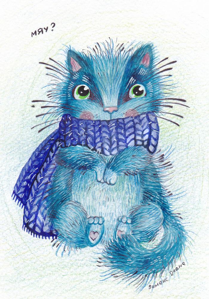 Синий замерзший кот.