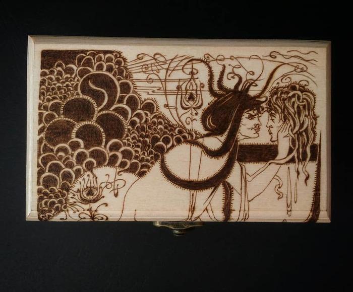 Саломея Пирография, Деревянная шкатулка, Викторианская эпоха, Оскар Уайльд, Модерн, Подарок девушке, Длиннопост