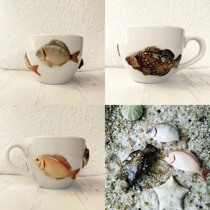 Кружки с рыбами Рукоделие без процесса, Рукоделие, Своими руками, Полимерная глина, Рыба, Кружка с декором, Творчество, Длиннопост