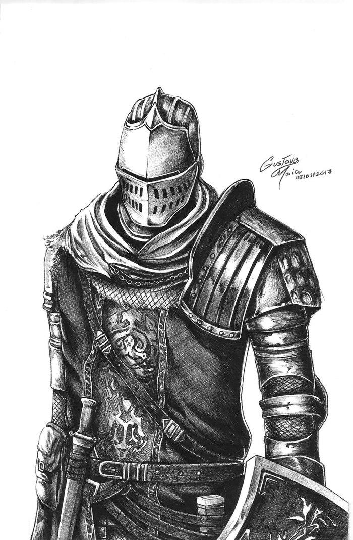 ByGustavo Oliveira Dark Souls, Арт, Игры, Рисунок, Dark Souls 2, Dark Souls 3, Черно-Белое, Длиннопост