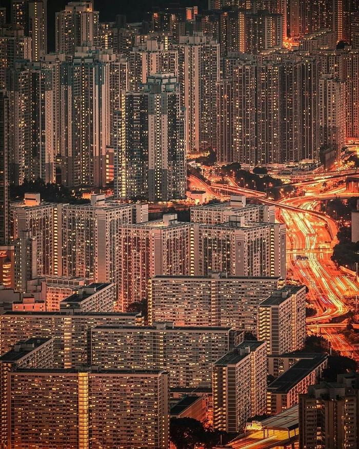 Ночные огни Гонконга.