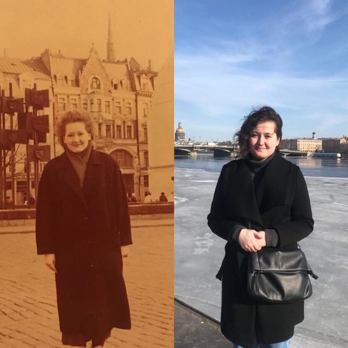Моя мама (Рига, 1990) / я (Санкт-Петербург, 2018) Фотография, Рига, Санкт-Петербург, Мама и дочь