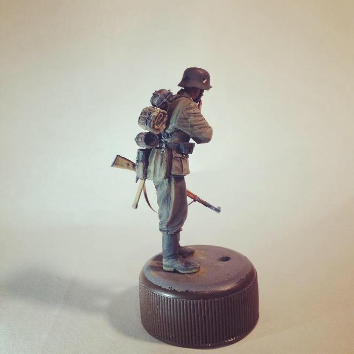 Маленькое хобби. Пехотинец Вермахта Sunkpainting, Военно-Историческая миниатюра, Темпера, Моделизм