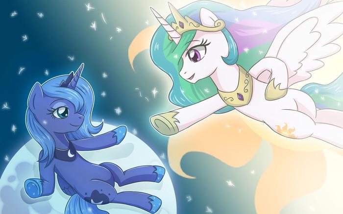 Сотворение Луны My Little Pony, Ponyart, Princess Luna, Princess Celestia, Sumin6301, Сотворение Адама