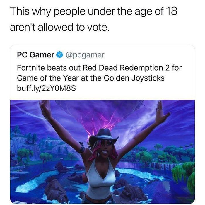 Вот почему дети не могут голосовать на выборах Red Dead Redemption 2, Fortnite, Выборы, Дети, Юмор, Reddit, Перевод