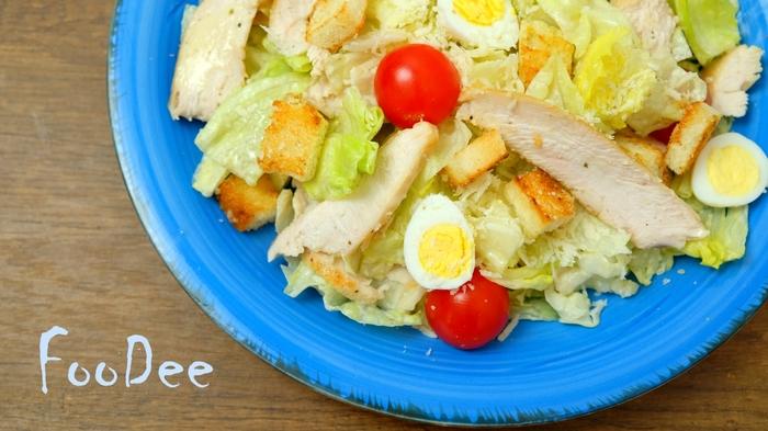 Цезарь с курицей + Соус цезарь Рецепт, Видео, Еда, Кулинария, Цезарь, Салат, Салат Цезарь, Длиннопост