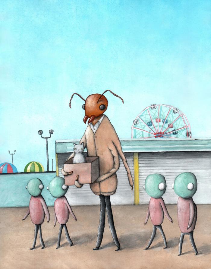 Кот, большой муравей, и инопланетяне Кот, Муравьи, Инопланетяне, Картина, Парк развлечений, Гуашь
