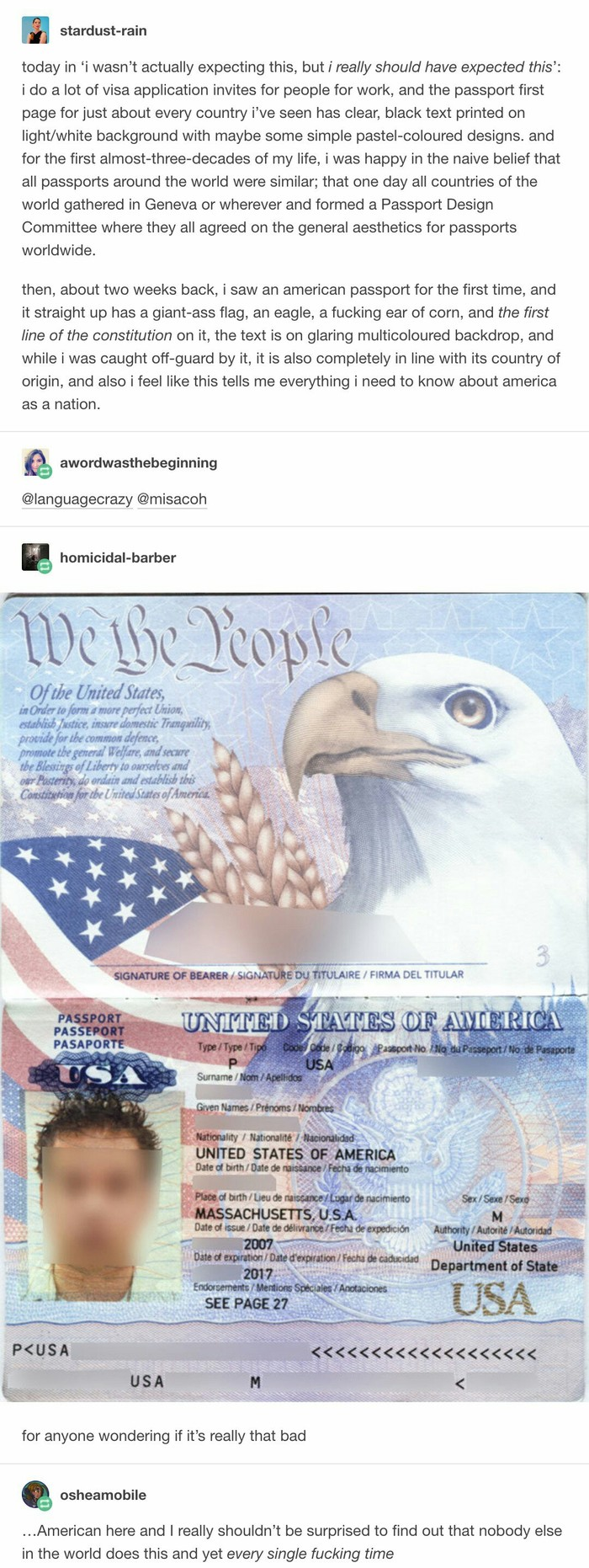 Американский паспорт Перевод, Reddit, Паспорт, Длиннопост