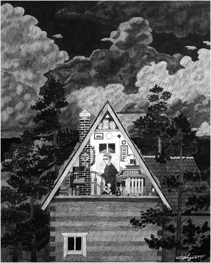 На чердаке Рисунок, Графика, Дом, Осень, Природа, Стихия, Дождь, Чердак