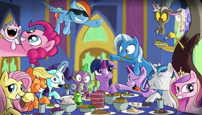 Типичный завтрак My Little Pony, Mane 6, Starlight Glimmer, Discord, Spike, Princess Cadance, Trixie, Shining Armor