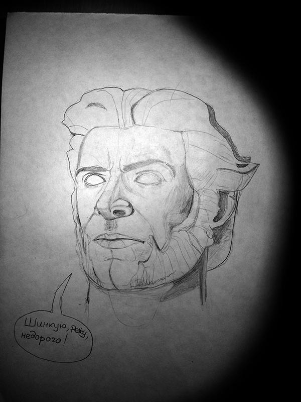 Голова Учусь рисовать, Рисунок карандашом, Логан