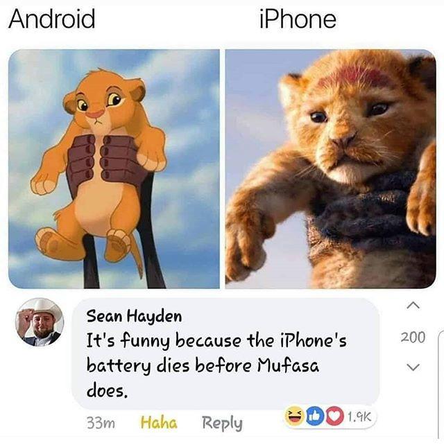 Android vs IPhone Картинка с текстом, Android, Iphone, 9GAG, Король Лев