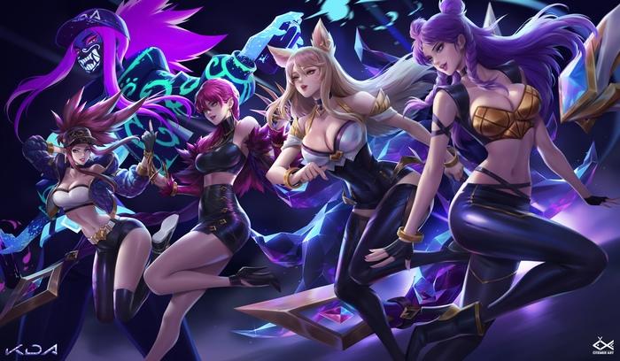 K/DA Art Арт, Citemer Liu, League of Legends, Ahri, Akali, Evelynn, Kaisa, KDA