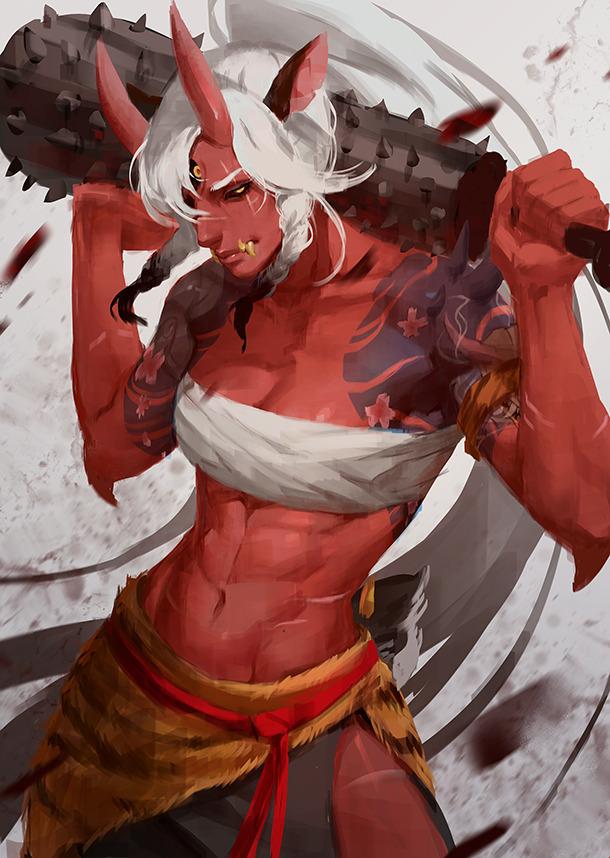 Demon lady Martasketch, Арт, Крепкая девушка, Фэнтези, Monster Girl, Они, Демон