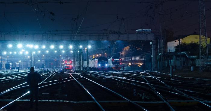 Парк отстоя электропоездов на Киевском вокзале.
