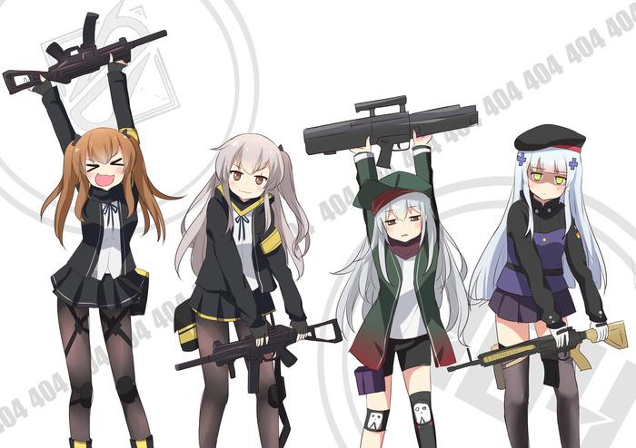 Konosuba Dance Girls Frontline, Ump45, Ump9, G11, Hk416, Anime Art, Не аниме, Танец