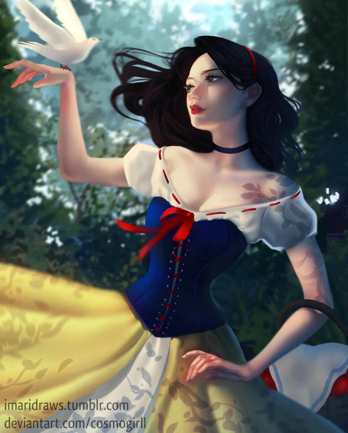 Snow White DeviantArt, Арт, Рисунок, Мультфильмы, Белоснежка, Walt Disney Company, Cosmogirll, Принцесса