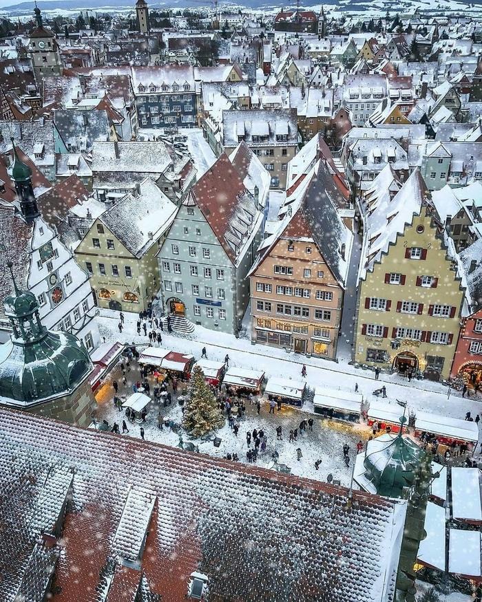 Снежок в Ротенбурге Фотография, Город, Германия, Снег, Красота