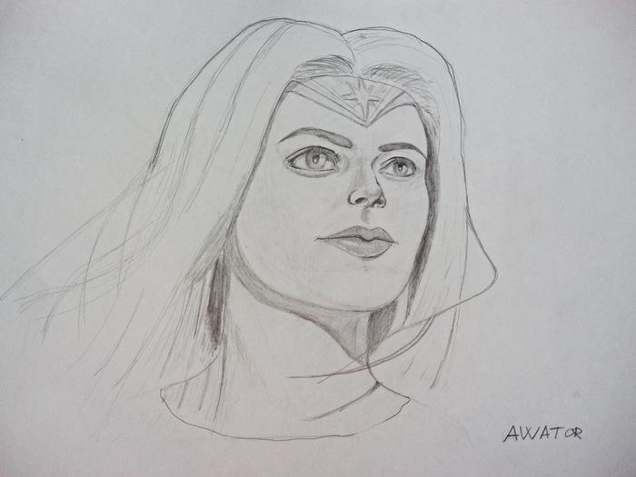 Чудо-женщина Учусь рисовать, Рисунок карандашом, Чудо-Женщина, Портрет