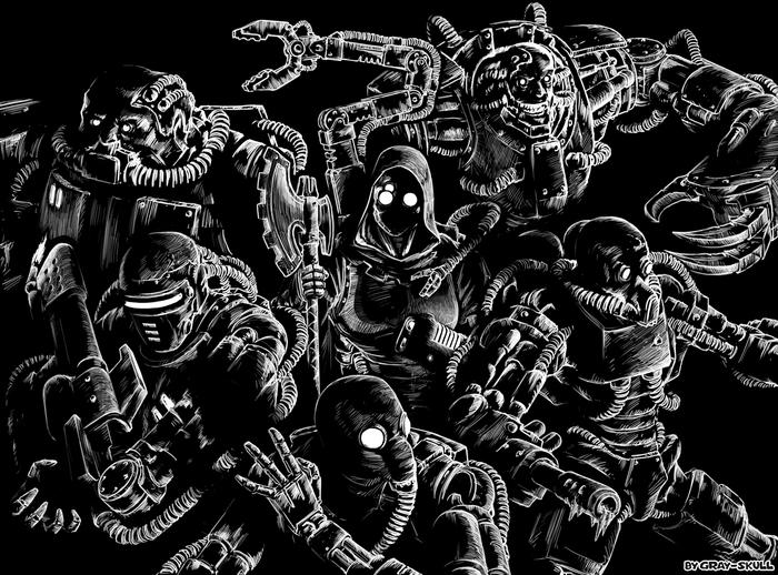 Иварелла со своей бандой железных мордоворотов (by Gray-Skull) Warhammer 40k, Gray-Skull, Комиссар Райвель, Adeptus Mechanicus, Techpriest, Картинки, Арт