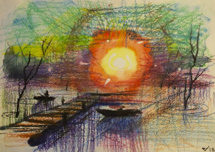 Рисунки Рисунок, Пейзаж, Пастельные карандаши, Вода, Пирс, Лодка