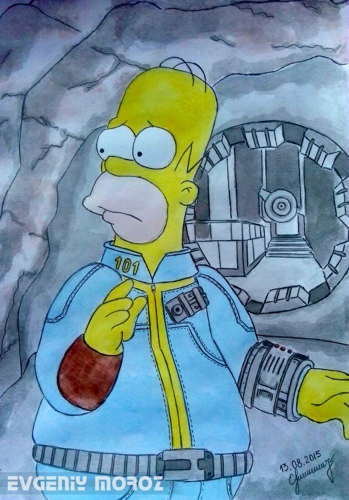 Выход Гомера из убежища 101. Рисунок, Гомер Симпсон, Акварель, Game Art, Творчество, Fallout, Арт, Симпсоны