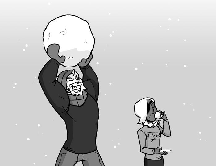 Зимние забавы Комиксы, Trin0dinz, Overwatch, Genji, Zenyatta, Райнхардт, Ana Amari, Reaper, Длиннопост