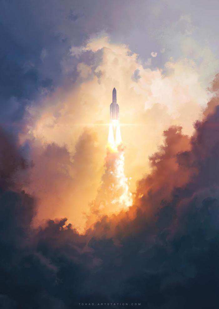 Ariane 5 Арт, Рисунок, Ракета, Ariane 5, Небо, Облака