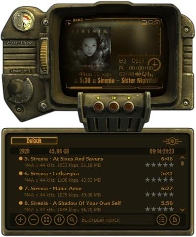 AIMP в стиле Pip-Boy 3000 Aimp, Fallout, Fallout: New Vegas, Игры, Компьютерные игры, Обложка