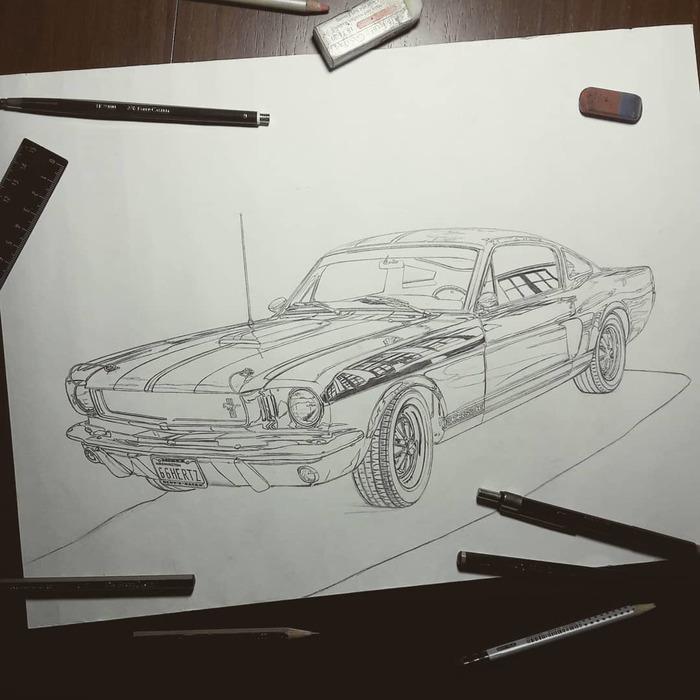 "1966 Shelby Mustang GT350 ""Hertz Ed."" Ford Mustang, Арт, Машина, Искусство, Рисунок карандашом, Рисунок, Длиннопост, Авто"