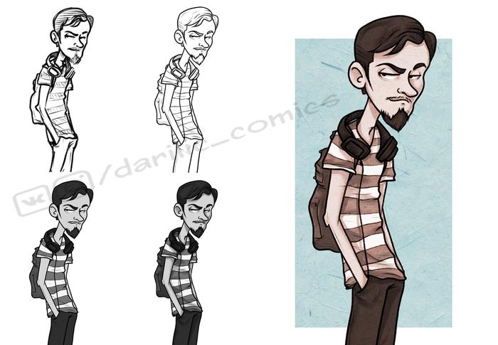 Портреты подписчиков Длиннопост, Портрет, Darilic_comics, Арт, Подписчики, Рисунок, Цифровой рисунок, Этапы