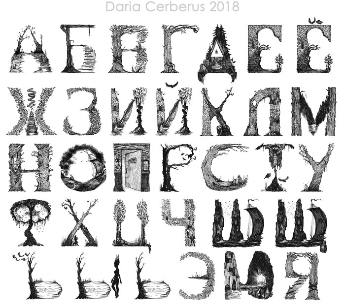 «Авторский шрифт» Шрифт, Рисунок, Графика, Художник, Творчество, Длиннопост, Буквица, Буквы, Алфавит