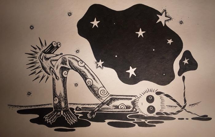 Мистер Улиточка смотрит в открытый космос. Мистер Улиточка, Комиксы, Рапидограф, Акварель, Длиннопост