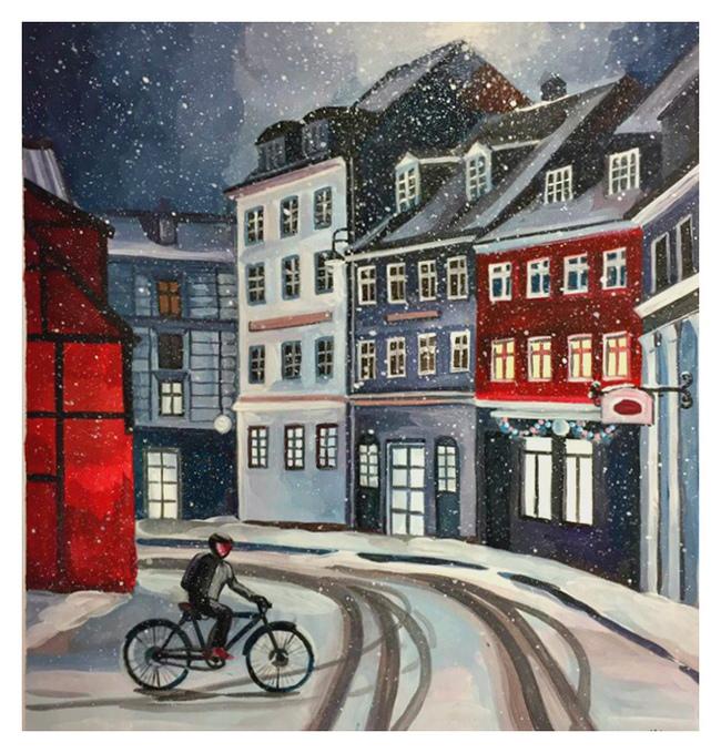 Снежный Копенгаген (Гуашь) Копенгаген, Дания, Творчество, Рисунок, Гуашь, Пейзаж, Okta23, Длиннопост, Город