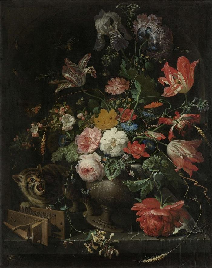 Перевернутый букет (Авраам Миньон, 1660-79) Кот, Живопись, Букет