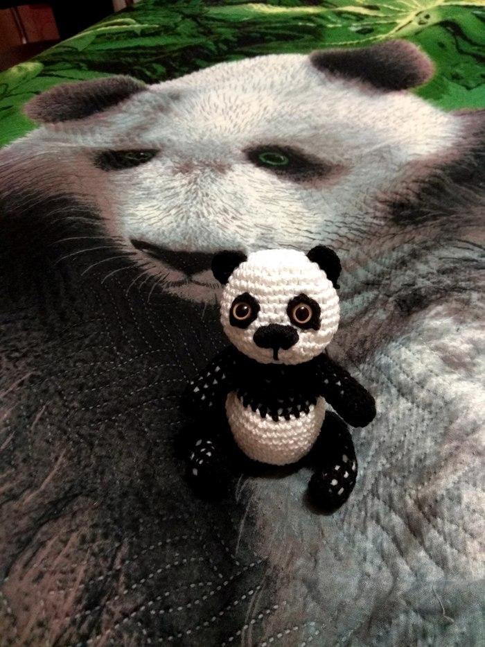 Панда. Пятничный тег моё, Вязание крючком, Вязаные игрушки, Панда, Фотография, Длиннопост