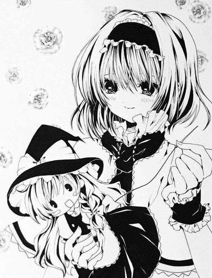 Alice & Marisa Аниме, Anime Art, Touhou, Alice Margatroid, Kirisame Marisa, Shanghai Doll, Kashahzaki, Монохром, Длиннопост