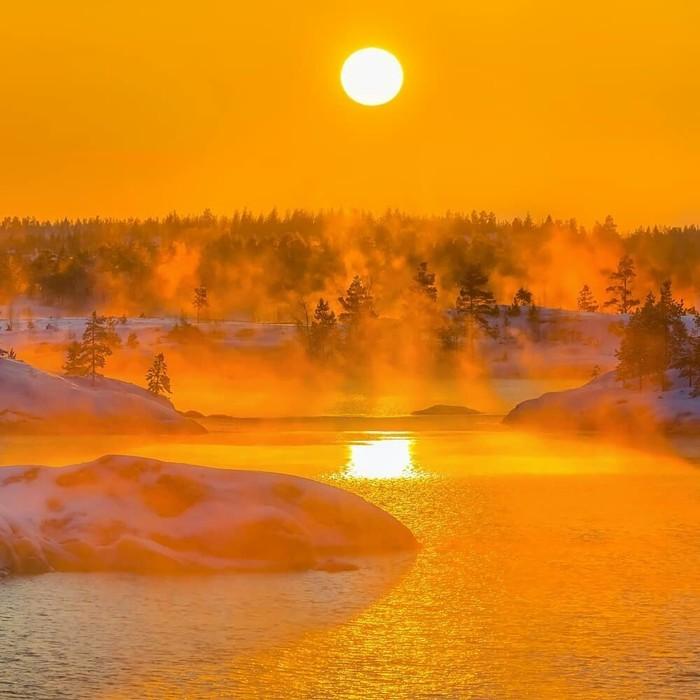 Морозный закат на Ладоге, Карелия Закат, Красота, Красота природы, Природа, Карелия, Фотография, Россия, Озеро, Длиннопост