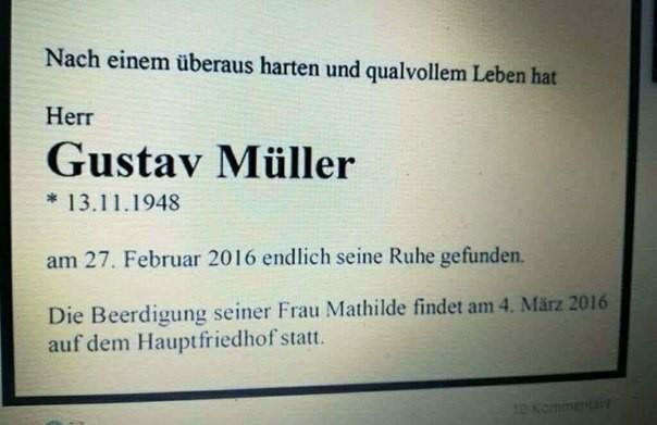 Приглашение на похороны Германия, Юмор, Немецкий язык