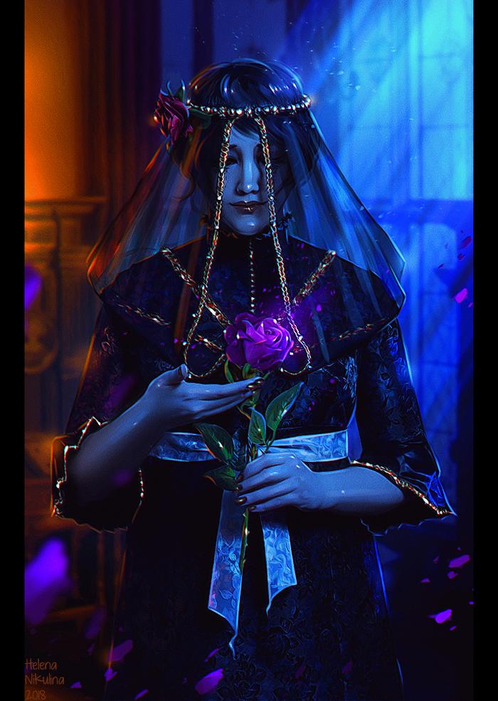 Iris von Everec Арт, Елена Никулина, Ирис фон Эверек, Ведьмак 3, Роза, Фан-Арт, Фэнтези, Ведьмак