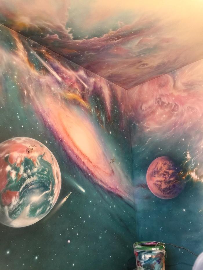 Роспись в детской комнате Аэрография, Роспись, Роспись стен, Космос, Длиннопост, Своими руками