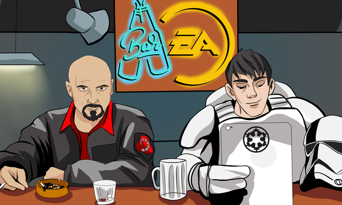 Плохое предчувствие Комиксы, Kane, EA games, Star Wars, Юмор, Бар, Tiberium Wars, Dragon Age, Длиннопост
