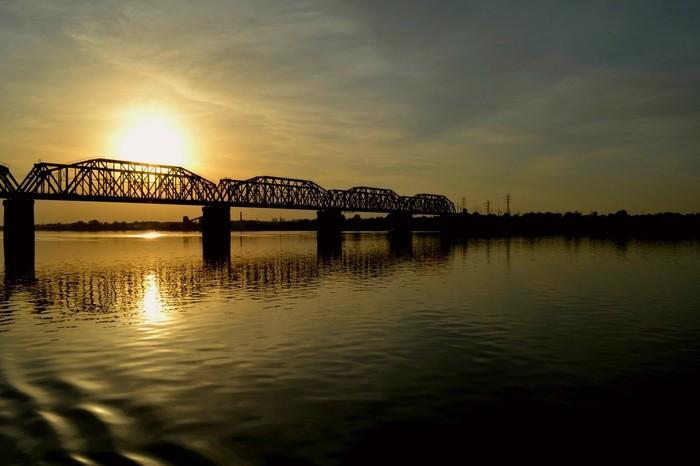 Закат Река, Река Кама, Пермь, Закат, Мост, Рябь, Фотография