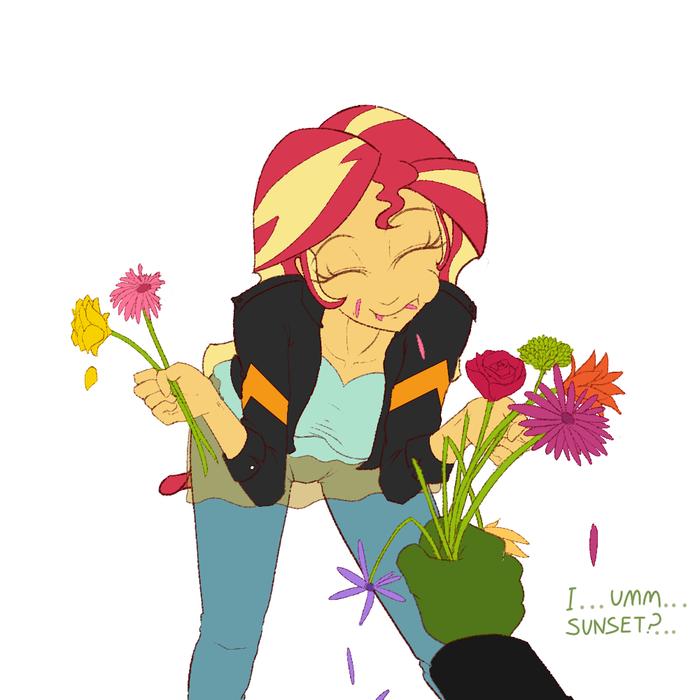 Thanks for the Snack Anon My Little Pony, Equestria Girls, Sunset Shimmer, Anon, Цветы, Janji009