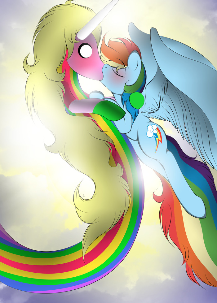 Радужный цьмок My Little Pony, Rainbow Dash, Леди Ливнерог, Adventure Time, Crossover, MLP Edge, MLP Lesbian, v-d-k