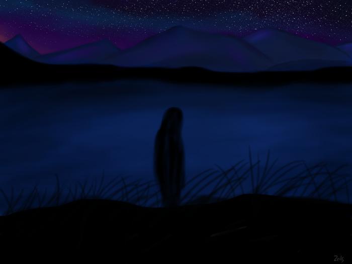 И снова немного неба) Художник-Самоучка, Учусь рисовать, Цифровой рисунок, Горы, Небо