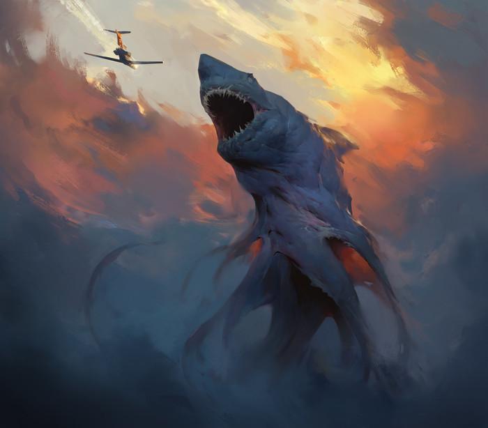 Акула. Акула, Небо, Облака, Самолет, Арт, Digital