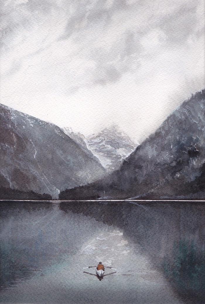 """Акварельный пейзаж """"Один в горах"""" Горы, Акварель, Арт, Искусство, Озеро, Вода, Лодка"""
