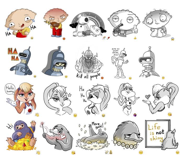 Мои разработки Стикеров №2 Стикеры, Иллюстрации, Цифровой рисунок, Длиннопост, Рисунок