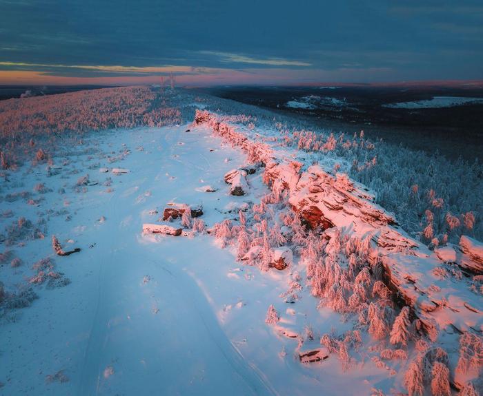 Крестовая, вид второй части гряды Пермский край, Фотография, Пейзаж, Закат, Зима, Квадрокоптер, Губаха, Крестовая гора